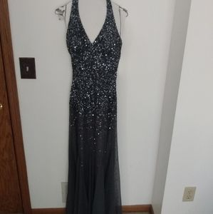 Charcoal Grey Sequin Prom Dress